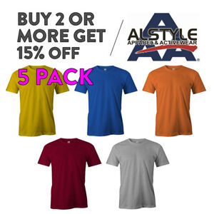 5-PACK-AAA-ALSTYLE-1301-MENS-PLAIN-T-SHIRT-CASUAL-SHORT-SLEEVE-BASIC-COTTON-TEE
