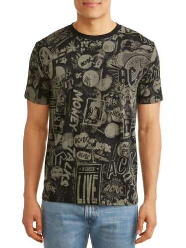 AC//DC Shirt All Over Print Graphic Rock Band Tee Men/'s Size XL 46-48
