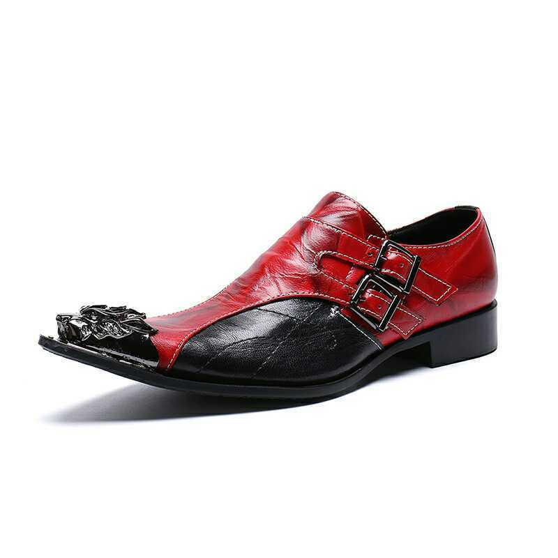 British Men Metal Head Pointy Toe Leather shoes Business Leather shoes Plus Size