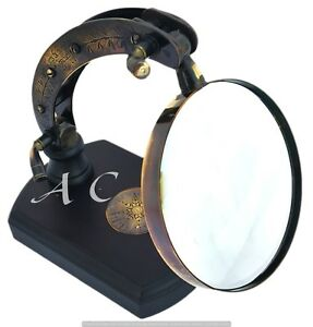 Antique Vintage Style Brass Magnifying Glass Magnifier Skull Handle