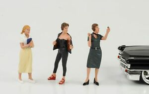 Intelligent 50s Années 50 Style Girl Femme Set De 3 Figurines 1:24 American Diorama N° Car Marchandises De Proximité