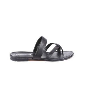 Manolo-Blahnik-Leather-Thong-Slide-Sandals-SZ-38