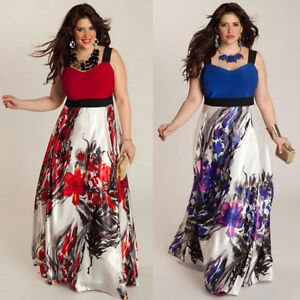 3ed24a2f01c Plus Size Women Floral Printed Long Evening Party Prom Gown Formal ...