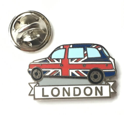T1241 Hackney carriage London Cab Taxi in Union Jack Enamel Lapel Pin Badge