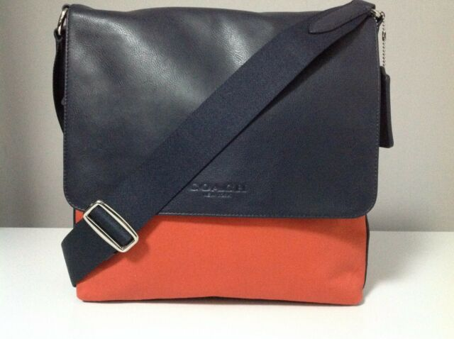 Coach Map Twill/Leather Crossbody Messenger Bag in Coral/Navy F71691