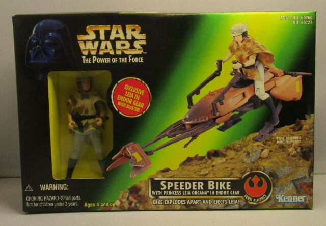 1997 Kenner Star Wars LEIA SPEEDER BIKE POTF 2 Green Box Sealed Vehicle & Figure