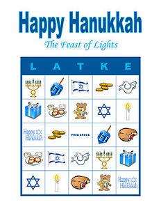 Happy Hanukkah Bingo Party Holiday Activity Game Personalized Bingo
