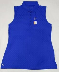NEW-Antigua-Womens-Sleeveless-Jewel-Desert-Dry-Golf-Polo-Shirt-Blue-Size-M