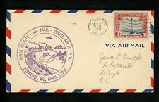 US Postal History Airmail CAM AM 19 Florence SC 1931 AAMC #19N22 Railroad Train