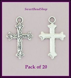 20-Antique-Silver-Colour-25-x-16mm-Religious-Fancy-Patterned-Cross-Charms