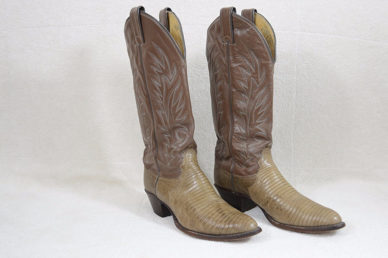 Justin 4701 Womens 6.5B Western Boots Browns Leather & Lizard A91