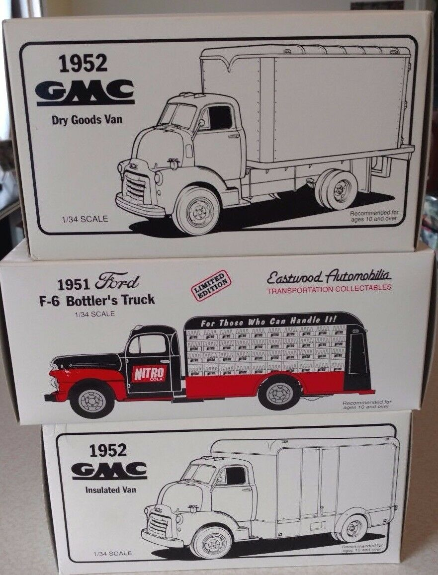 First Gear Lot de 3 camions Comme neuf IN BOX 1951 1952 FORD GMC Vans Nitro Cola Pepsi Bottlers