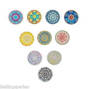 10-Mix-Glas-Cabochons-Rund-Mehrfarbig-Blumen-Blueten-Muster-25mm