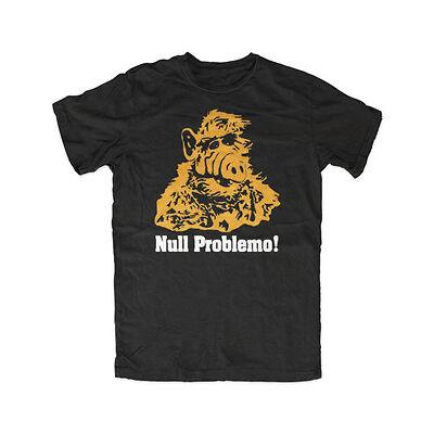 Alf Null Problemo T-Shirt Schwarz Melmac,Lecker Katze, Ufo Comedy Kult Serie,Alf
