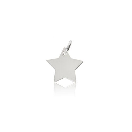 Estrella de plata esterlina encanto colgante Mini Pulido Lingote cadena de etiquetas de perro de Caja de Regalo