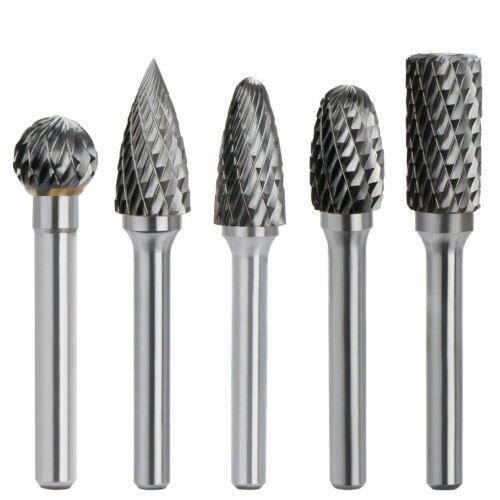 5x 6X12mm Solid Carbide Rotary Burr Cylindrical Double Cut Kit Die Grinder Drill