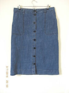 TOAST OAS A Line Calf Length Denim Button Skirt Long Tall Sally L 14 Fits UK 16
