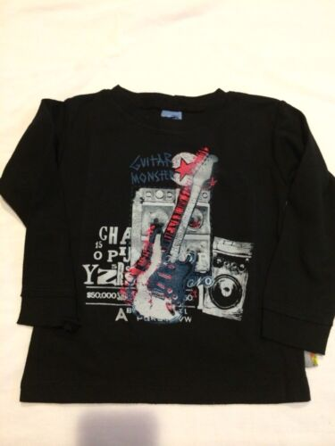 Boys Boutique 12-18 months Charlie Rocket Shirt Top NEW NWT Guitar Black L//S