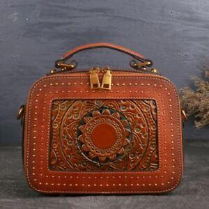Women-Genuine-Cow-Leather-Shoulder-Bag-Embossed-Handbag-Box-Purse-S-Brown