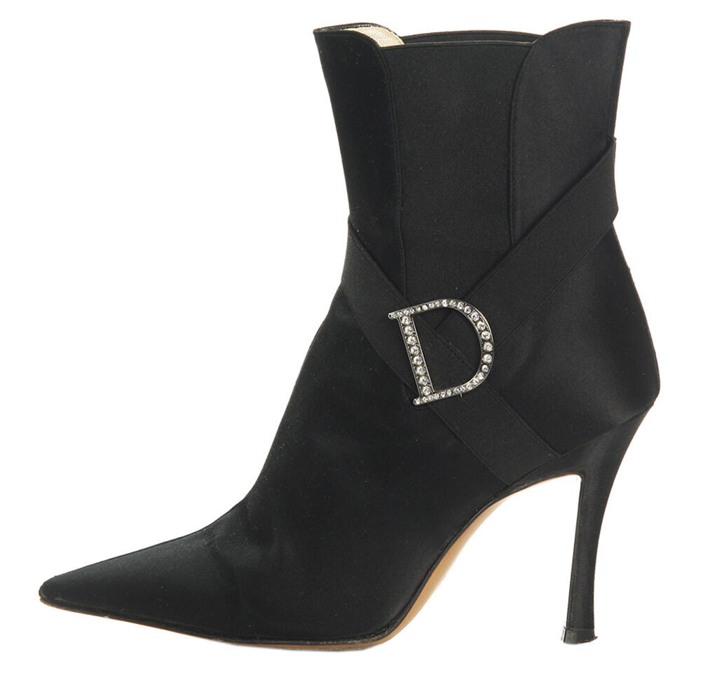 CHRISTIAN DIOR Black Satin Ankle Boots, Size 36 6 - Black with a bit of dazzle