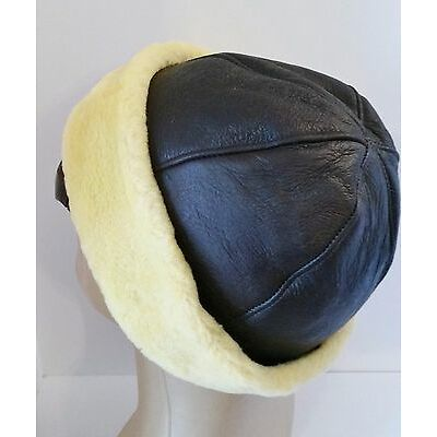 NEW Women Beanie Brown Yellow Sheepskin Shearling Fur Hat by KATZ CANADA Warm!!