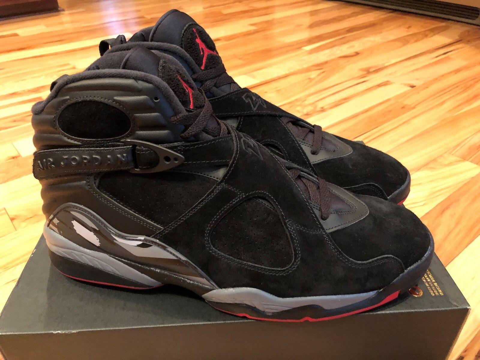 Nike Air Jordan 8 Retro Black Gym Red Wolf Grey 305381-022 Men's Size 15