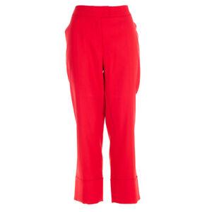 ESCADA-Pantalon-Rouge-Cerise-Court-Slim-Jambe-Taille-42-UK-16-Bw-173