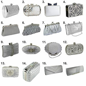 complete range of articles best collection coupon codes Details about Silver Crystal Diamante Beaded Clutch Bag Wedding Prom  Evening Handbag Purse