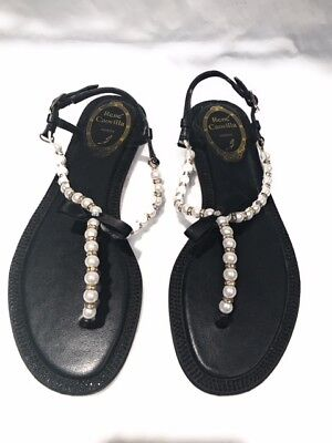 f9a3d945b0ee Authentic Rene Caovilla Leather Pearl and Crystal Black Ladies Sandal Size  EU 38