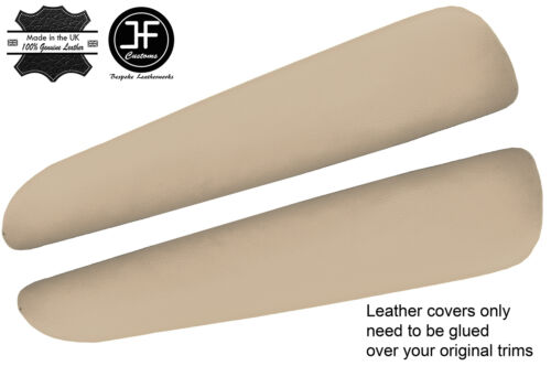 BEIGE REAL LEATHER 2X FRONT DOOR ARMREST COVERS FITS BMW E46 CONVERTIBLE COUPE