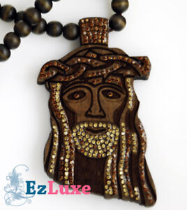 Details About Goodwood Good Cubic Black Wood Jesus Piece Necklace 37 Wooden Ball Chain Bling