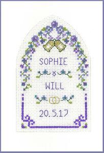 Cross stitch mariage salutations purple passion carte avec arch-kit 16 aida