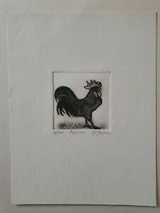 Christine-McGinnis-Etching-Miniature-Signed-Numbered-034-ROOSTER-034