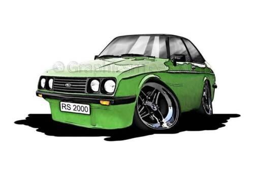 RS2000 MK2 Escort Green Caricature Car Cartoon A4 Print