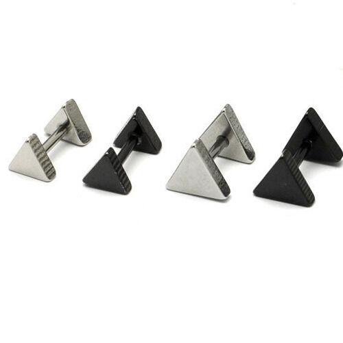3 5 7 9mm Triangle titanium steel Punk Men earrings 2 colors Simple ear buckle