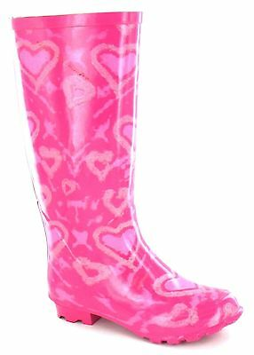 X1034- Spot On Girls Fuchsia Heart Rubber Wellington Boots- Great Price!