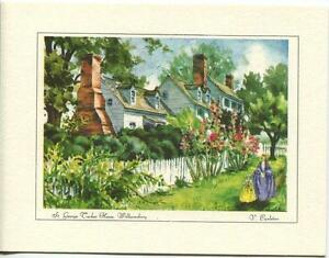 VINTAGE-VIRGINIA-WILLIAMSBURG-GARDEN-ST-GEORGE-TUCKER-HOUSE-PRINT-1-TROUT-CARD