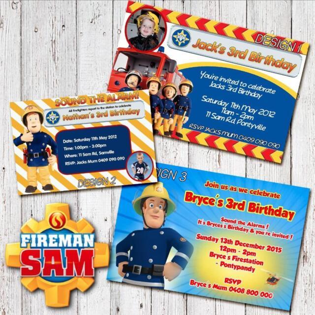 Personalised FIREMAN SAM Photo Birthday Invitations Invite Magnets