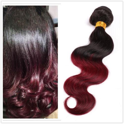 7A Braizilian Virgin Human Hair Ombre Color Body Wave Hair Bundles Wine Red 300g