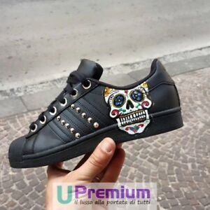 Zapatos Adidas Studded Superstar personalizado Orig Producto Mexican Skull pUBqHUYw