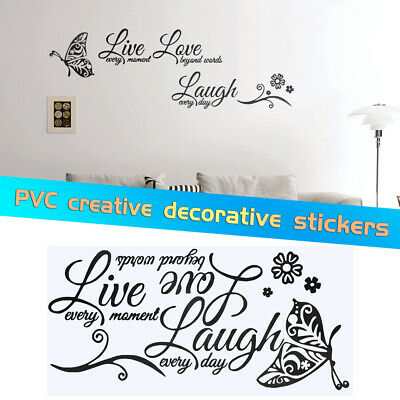 Live Laugh Love Quotes Butterfly PVC Wall Sticker Decal DIY Home Room  Decoration | eBay