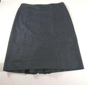 Ann-Taylor-Loft-Women-039-s-Pencil-Skirt-Sz-6-Blue-Gray-Pleated-Slit-Zipper-Pockets