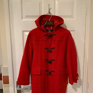 Femme-Burberry-Duffle-Coat-Veste-a-Capuche-Taille-UK-8-rouge-100-laine