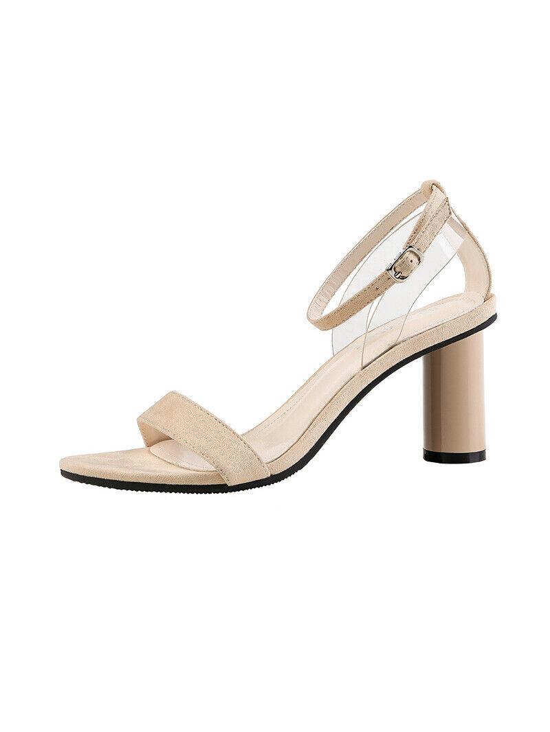 Sandales Beige Daim Cuir Synthétique Elegante Carré 7.5 cm Confort cw166