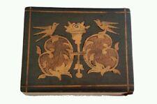 Antique Organic Wood Italy Bay of Naples Inlaid Birds Match Safe Vesta Case Box