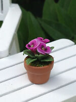 Miniature Dollhouse Fairy Garden Tiny Pink Pansy Flowers Pansies In Pot
