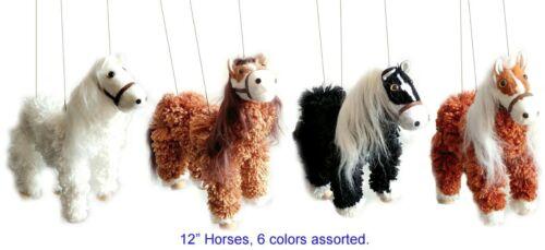 """Yarn Horse Four Legged Rust /& White String Marionette 12/"""" Puppet"""