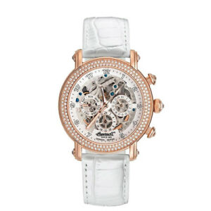 Ingersoll-Uhr-Dream-IN7202RWH-Damen-Automatik-Rotgold-Leder-Weiss-Armbanduhr-NEU