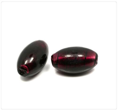 2x Handmade Perles de Verre Bijoux Bricolage Perles Beads À faire soi-même Argent Diapositive 28 mm Violet