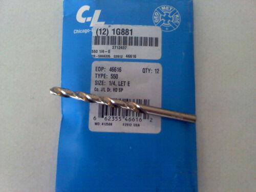 """Brand New Chicago-Latrobe 46616 Jobber 550 Cobalt Steel 1//4/"""" Drill Bit"""